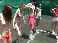 Sexy amateur student girls are having a hazing session at the tennis court