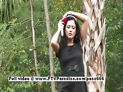 Loren brunette teen babe toying pussy and posing outdoors