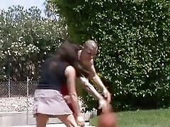 Brunette babe Olivia Alize pleases a basketball players prick in the sunshine