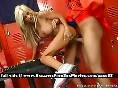 Mature busty blonde slut in the locker room gets her wet pussy fucked