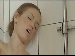 brunett masturbation in a bathroom