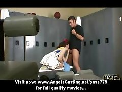 Amazing superb redhead cheerleader doing blowjob in the locker
