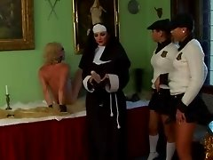 Nasty mistress nun unleashes her femdom pupils to fuck loser up the ass