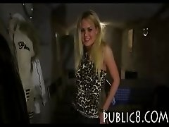 Coat check amateur blonde fucked anal in the club for money