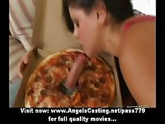 Hot latina does blowjob and flashes panties and pussy for pizza guy