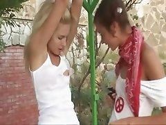 Great lesbian teenie fun in the garden