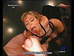 Nasty blonde slut gets her face jizzed part3