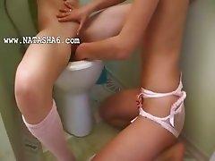 european serious dildo testing on toilet
