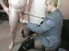 Chubby blonde UK MILF fucks with well hung stud