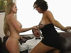 Adorable brunette and blonde busty milfs teasing a guy and does blowjob