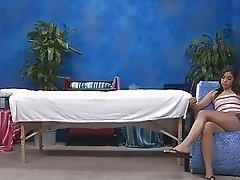 Hot oiled teen brunette sucking a cock