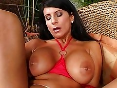Busty Brunette Fingers Her Slick Pussy and Masturbates