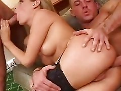 Victoria Swinger sandwiched between two meaty chubs fucking her hard