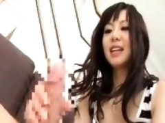 Seductive Japanese girl with a divine ass gets pleased with