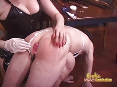 Naughty and horny dude receives a proper spanking from his