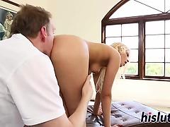 Stunning blonde gets bent over and slammed
