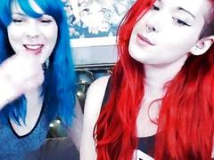 Red and Blue Haired Emo Babe Sucking And Slobberin