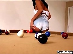 Amateur babe tries anal on a pool table