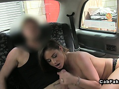 Huge tits British babe takes cock in fake taxi