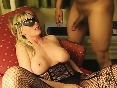 Stunning blonde MILF jizzed by a black dude