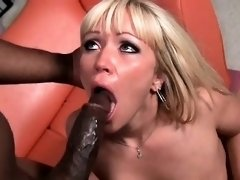 Oiled up blonde hoe drilled by black shaft