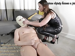 european deputy is julie's leather slave strap-on assfucking