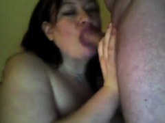 Fat chick enjoys his cock and cum shot