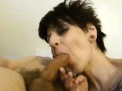 Thin tattooed swallows and slut sucking dick