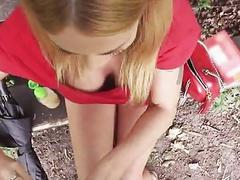 Sexy big tits blonde drilled in the park