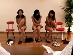 Three exciting Asian babes drop their clothes and masturbat