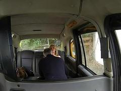 Huge boobs blond woman railed in the cab