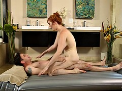 Busty redhead babe takes a boner up her butt