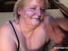 Mature nympho swallowing a big jizz load