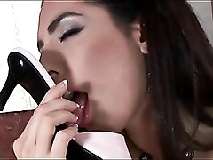 Sexy feet girl models her polish and heels