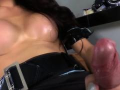 Asian ladyboy cums tugging cock