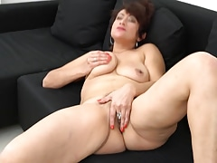 Elegant mature mom with hairy old cunt