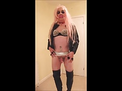 Pink haired slut in black thigh boots