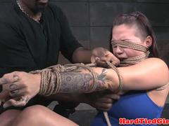 Interracial maledom ties up sub for whipping