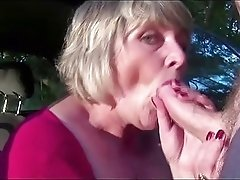 Chubby retro blonde milf fucks with dildo and blowjobs cock in the car