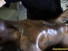 Black straight guy cums from magic hands