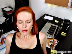 Red-haired model sucks and gets banged
