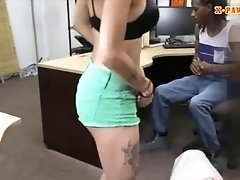 Black BF gets his girl fucked by pawn man in the backroom