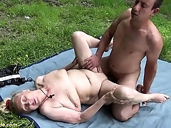 bustz old granny first time outdoor sex