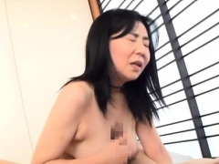Older gets on her knees and gives excellent oral-job