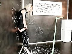 Fur coat and wet look leggings on a lady taking fake cumshots