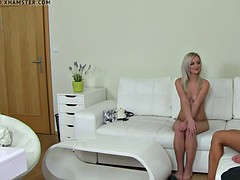 blonde agent shows client how to toy pussy