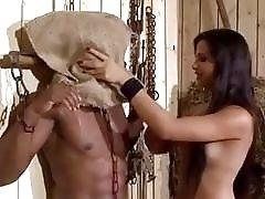 Bound slave boy fucks femdom babes in the barn BDSM