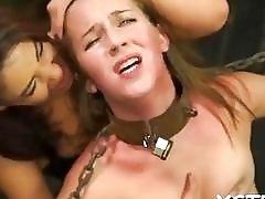 Lustful bondage for adorable redhead slut and kinky mistress BDSM