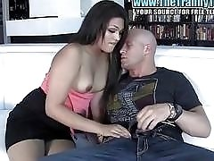 Stunning shemale gives him a blowjob before he plows her