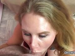 Dani Arcadia is giving a point of view blowjob